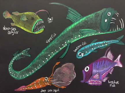 glowinthedark deep sea fish art project
